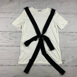 Zara Trafaluc black ribbon tee shirt B8